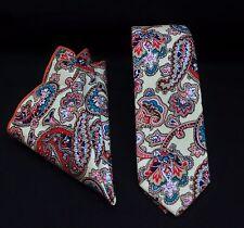 Tie Cravatta Con Fazzoletto Crema SLIM ROSSO / BLU Paisley Cotone di Qualità mtb05