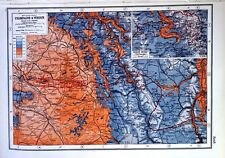 Vintage Antique Original 1920 Map Print Of The Western Front Champagne & Verdun