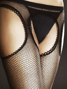 PASSION Collant noir ouvert FIORE sexy résille porte jarretelle femme T 2 3 4
