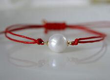 Rote Makramee Armband mit Kasumi Like Perle gewachste baumwollkordel