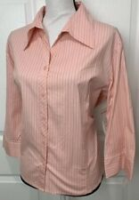 MILANO SPORTS Womens Pink Striped Long Sleeve Button Front Shirt Top Size XL NEW