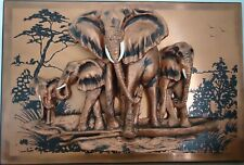 3D Elephant Family Copper Wall Art Sculpture