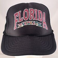 Vintage Florida Nautical Flags Black Rope Front Mesh Back Snapback Hat Cap