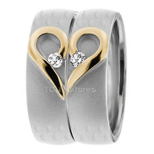 14K GOLD MATCHING HIS & HERS WEDDING BANDS RING MENS WOMENS SET DIAMOND 0.14 CTW