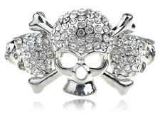 Silver Tone Clear Crystal Rhinestone Pirate Skull Crossbone Cuff Bangle Bracelet