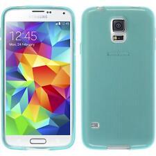 Silikon Hülle für Samsung Galaxy S5 mini türkis transparent + 2 Schutzfolien