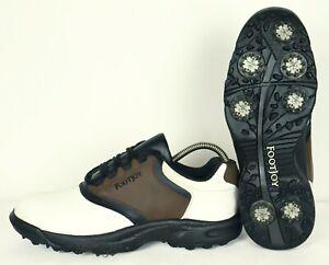 FootJoy GreenJoys Leather White & Brown Mens Golf Shoes Size UK7, EU 40.5, US 8M