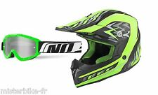 Lot Casque cross NO END moto enduro cross quad dirt Noir Vert Mat Lunette verte