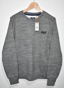 SUPERDRY Orange Label Classic Crew Jumper Medium Stone Grey Sweatshirt Pullover
