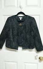 Charter Club NEW Petites Size PP 1 Button Black & Gray Blazer Jacket Lined