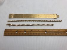 Vintage BRACELET Costume TENNIS Cubic Zirconia ROPE STYLE Gold Plated 3 LOT