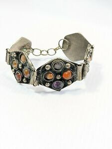 Artisan Silver Tone Polished Stone Brown Purple Panel Style Bracelet 7 Inches
