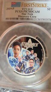 2018 P Tuvalu S$1 Star Trek Discovery Crew 2OZ .9999 Silver Coin ER PCGS PR70 UC