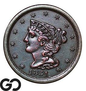 1851 Half Cent, Braided Hair, Choice AU+ Collector Copper