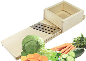 Krauthobel Sauerkrauthobel Gemüsehobel Holz mit 3 Messern und Schublade 56 cm