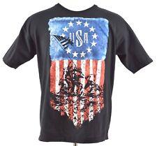 Bayside Mens XL Black USA Iwo Jima Flag Raising Graphic Cotton T-Shirt USA Made