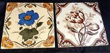 Antique Art Nouveau  England Floral Decorated Tiles (2)
