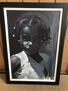 Original acrylic painting on canvas. Black Afro Caribbean Child Girl  50 x 70cm
