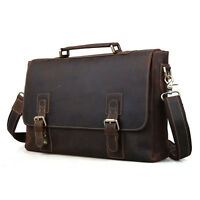 Retro Men leather 15.6''Laptop Business Briefcase Messenger Shoulder Bag Handbag