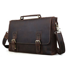 "Retro Men Genuine Leather 15.6"" Laptop Business Briefcases Shoulder Bag Handbag"