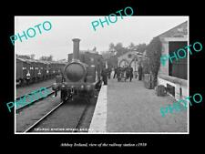 OLD LARGE HISTORIC PHOTO OF ATHBOY IRELAND, VIEW OF THE RAILWAY STATION c1910