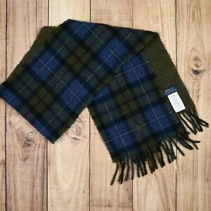 Polo Ralph Lauren Mens Womens Wool Scarf Check Pattern Tartan Vintage