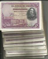 SPAIN LOT BUNDLE 100x 50 PESETAS 1928. VF CONDITION. 3RW 5MAY