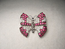 Gorgeous Estate 18K White Gold Ruby Pave Diamond Butterfly Brooch Pin