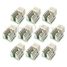 10x RJ45 8P8C lot Keystone Jack Cat5e White Network Ethernet 110 Punch Down