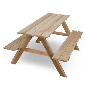 Picknicktisch Holz Gartentisch Sitzgruppe Sitzgarnitur für Kinder Tisch und Bank