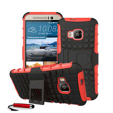 For HTC One M9 Heavy Duty Shock Proof Hard Case Back Cover + Screen + Stylus