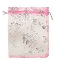 Wholesale 7x9cm Pink Butterfly Premium Organza Gift Pouch Bags Wedding Favor