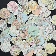 "Confetti 1"" Paper Circles Upcycled Map Print Wedding Birthday Party Decor"