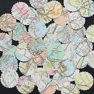 """Confetti 1"""" Paper Circles Upcycled Map Print Wedding Birthday Party Decor"""