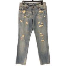 INC Denim Women's Regular Fit Straight Leg Light Wash Distressed Jeans - Size 4