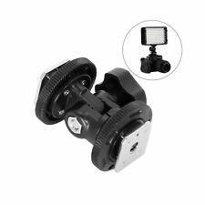 Dual Hot Shoe Mount Stand Adapter Holder Base Bracket For Camera Video Light