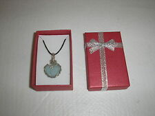 "Genuine sea glass Pale Blue necklace/pendant/18"" waxed cord with free GIFT BOX"