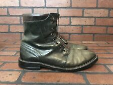 AllSaints Ankle Zipup/Laceup Motorcycle Rugged Leather Dark Green Boots Size 11