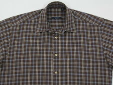 Mens Burberry London L/S Woven Cotton Brown /  Blue Plaid Small EUC Made in USA