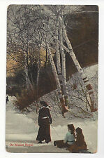 Canada Montreal Mount Royal Woman Children Sled Toboggan Vtg Postcard 1913