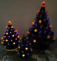 "NEW 13"" 8"" 6"" Ceramic Haunted Black Halloween Tree Pumpkin Lighted Spooky Sounds"