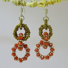 Fashion Alloy Plated Dangling Linked Red Oval Frames Earring