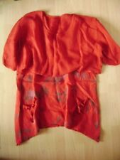 @MADE IN ITALY @ Dress +Top Layered Look Red gr. 42/44 Size XL Flowers Canvas