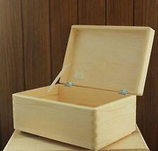 Wooden storage box chest keepsake toy plain natural pine wood no handles SD130B