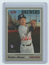 2019 TOPPS HERITAGE HIGH # RED AUTOGRAPH RC KESTON HIURA #46/70 BREWERS