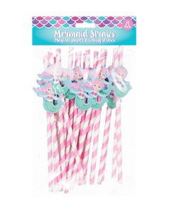 Unicorn & Mermaid Kids Girls Birthday Party Novelty Paper Straws 20 Pack