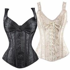 Plus Size Black Steampunk Waist Training Corset Bustier Overbust Top Shaper UK