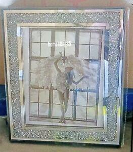 ANGEL WITH WINGS MODERN LIQUID ART CRUSHED DIAMOND FRAME WALL ART 55x45cm