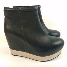 Jeffrey Campbell Vienna Zip Black Leather Hidden Heel Bronze Platform Bootie 8.5