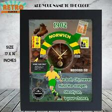 PERSONALISED  NORWICH CITY RETRO FOOTBALL FANS l WALL CLOCK